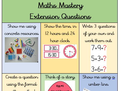 Maths Mastery Extension Question Grid