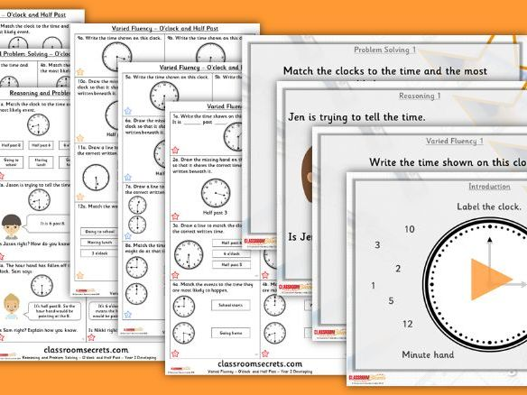 FREE Year 2 O'clock and Half Past Summer Block 3 Lesson Pack