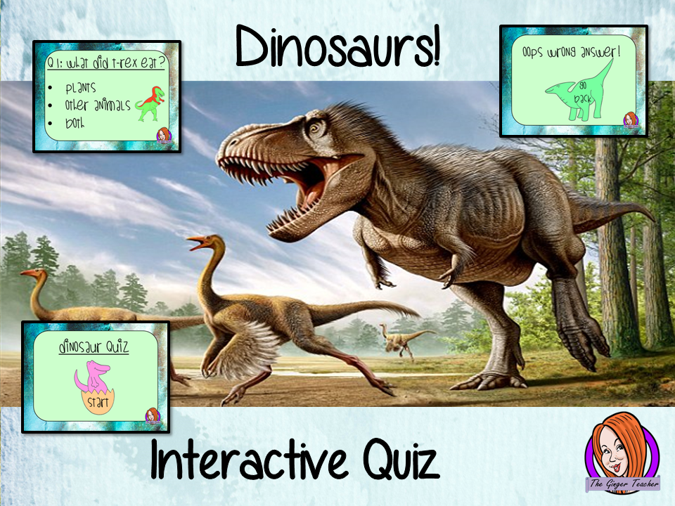 Dinosaurs Quiz   -  Paperless digital resource Interactive PDF Freebie STEAM Activity