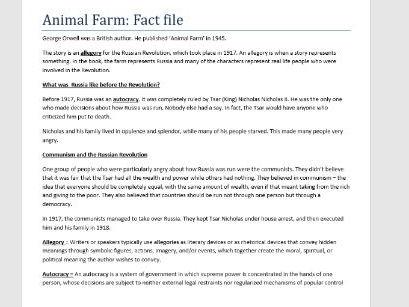Animal Farm Fact File