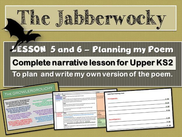 THE JABBERWOCKY - LESSON 5 AND 6 -PLANNING AND  WRITING AN IMITATION POEM.