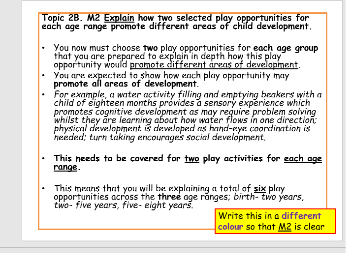 BTEC Children's Play, Learning + Development L2- Unit 2: Promoting Development Through Play LAB