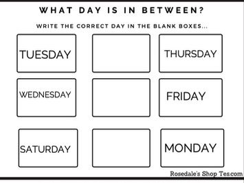 """Days of the Week Worksheets - """"What Day Is In Between?"""" ~ Back To School Studies FREE PDF"""