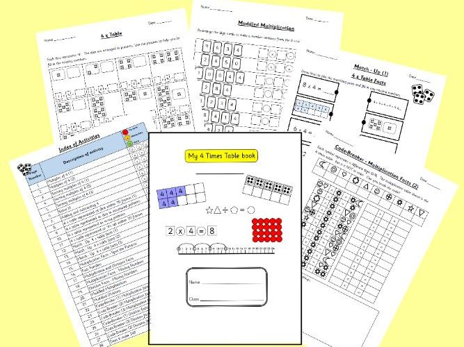 Four Times Table Activity Booklet Worksheets