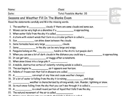 seasons weather fill in the blanks exam by eslfungames teaching