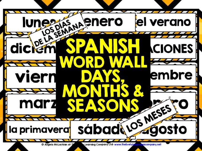 PRIMARY SPANISH DAYS MONTHS SEASONS WORD WALL
