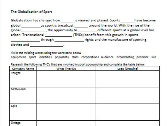 The Globalisation of Sport - Worksheet for Stage 4 Geography