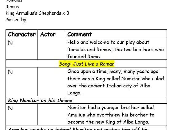 Playscript for the Story of Romulus and Remus with PowerPoint