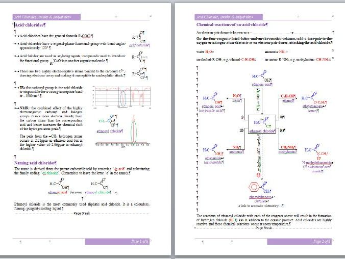 Acid Chlorides, Amides & Anhydrides Workbook - A-Level Chemistry