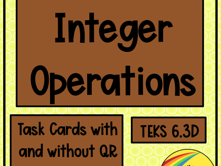 Integer Operations Task Cards with or without QR Codes