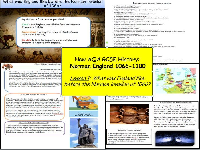 Norman England 1066-1100: Lesson 1 - What was England like before the Norman invasion of 1066?