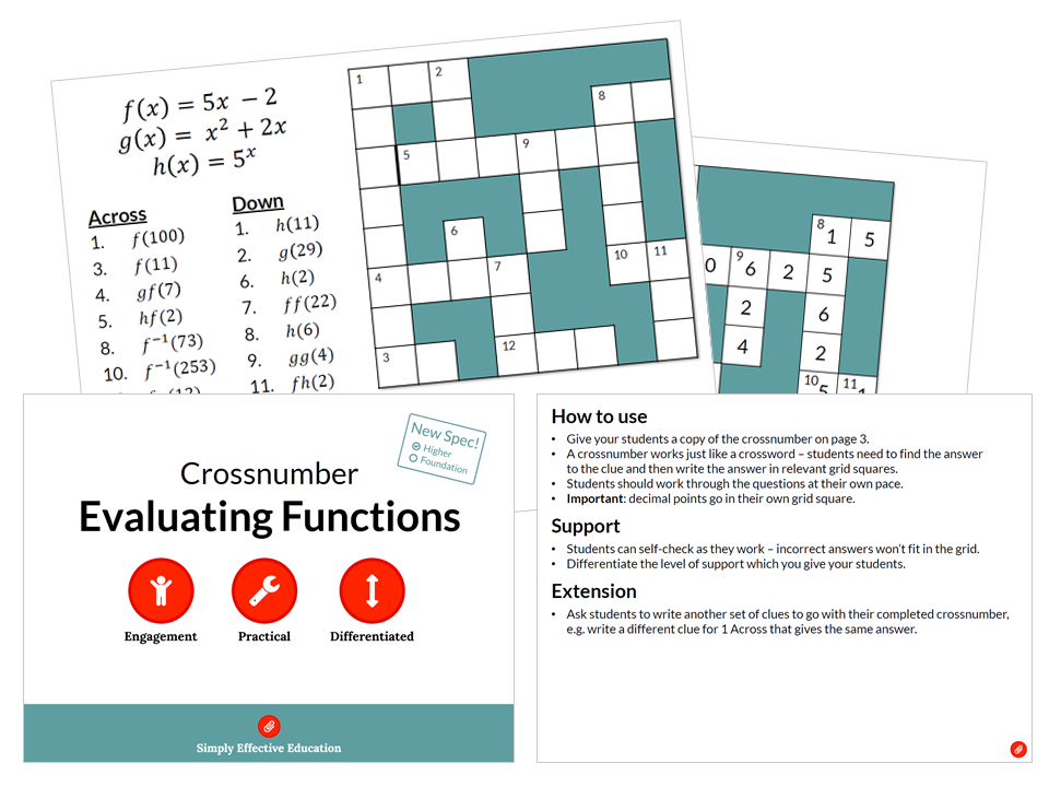 Evaluating Functions (Crossnumber)
