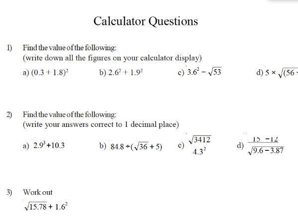 GCSE maths worksheet – calculator questions