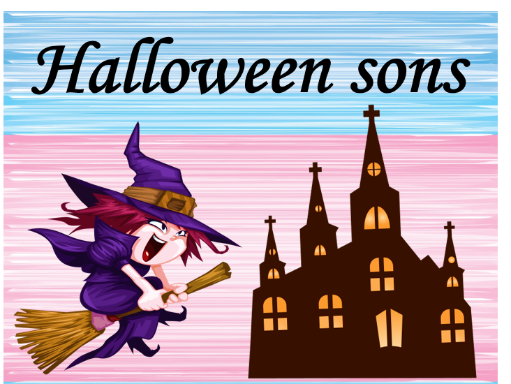 Halloween sounds  in French.  Guessing game. Jeu.