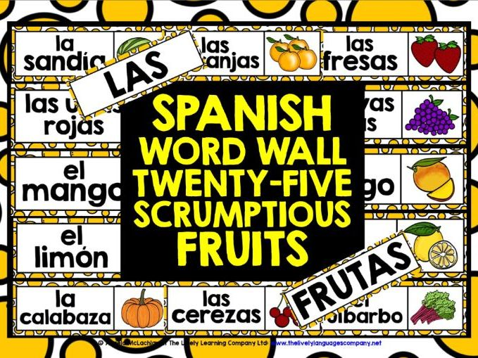 PRIMARY SPANISH FRUITS WORD WALL