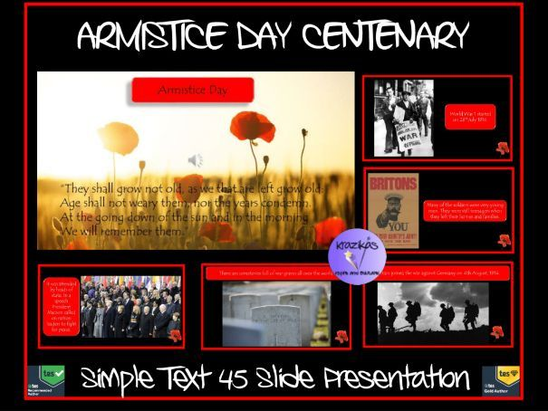 Armistice Day: Armistice Day Centenary Presentation - Simple Text