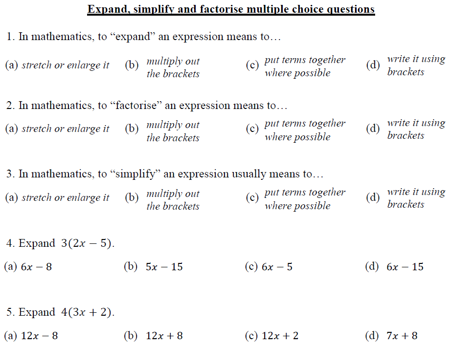 Expanding, simplifying and factorising resources