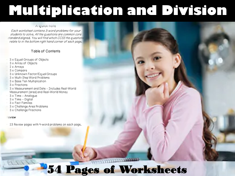 54 Page Word Problems with a focus on Multiplication and Division: Grades 3 & 4