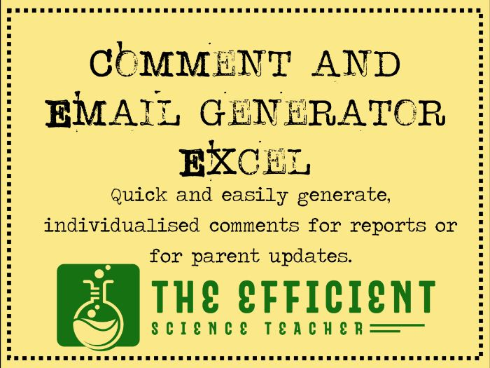 Comment and Email Generator - Excel