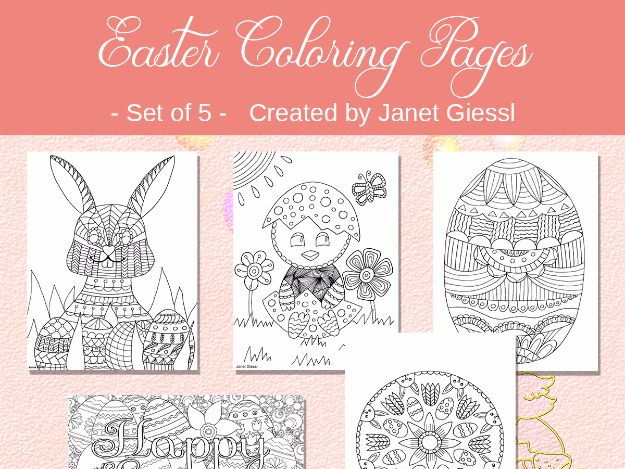 Easter Coloring Pages - Set of 5