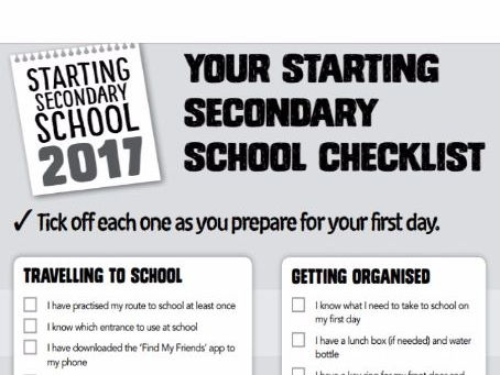 Year 7 Checklist for students for the first day