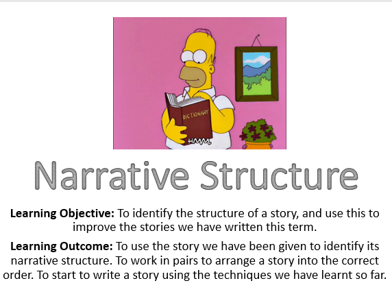 Narrative Structure full lesson, worksheet and crip sheet