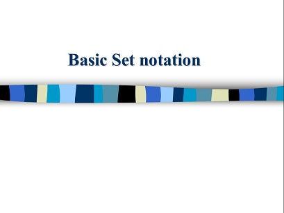 Basic set notation - Introduction to set theory