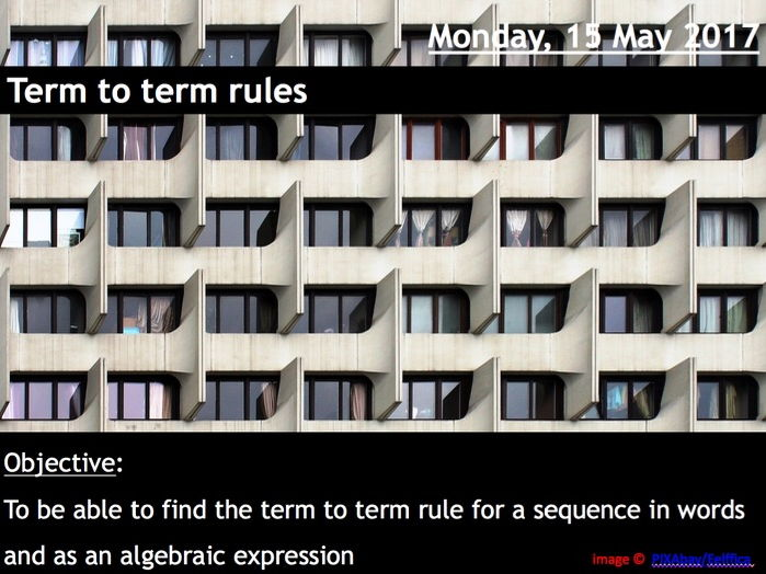 ProjectALesson: Sequences Term to Term Rules