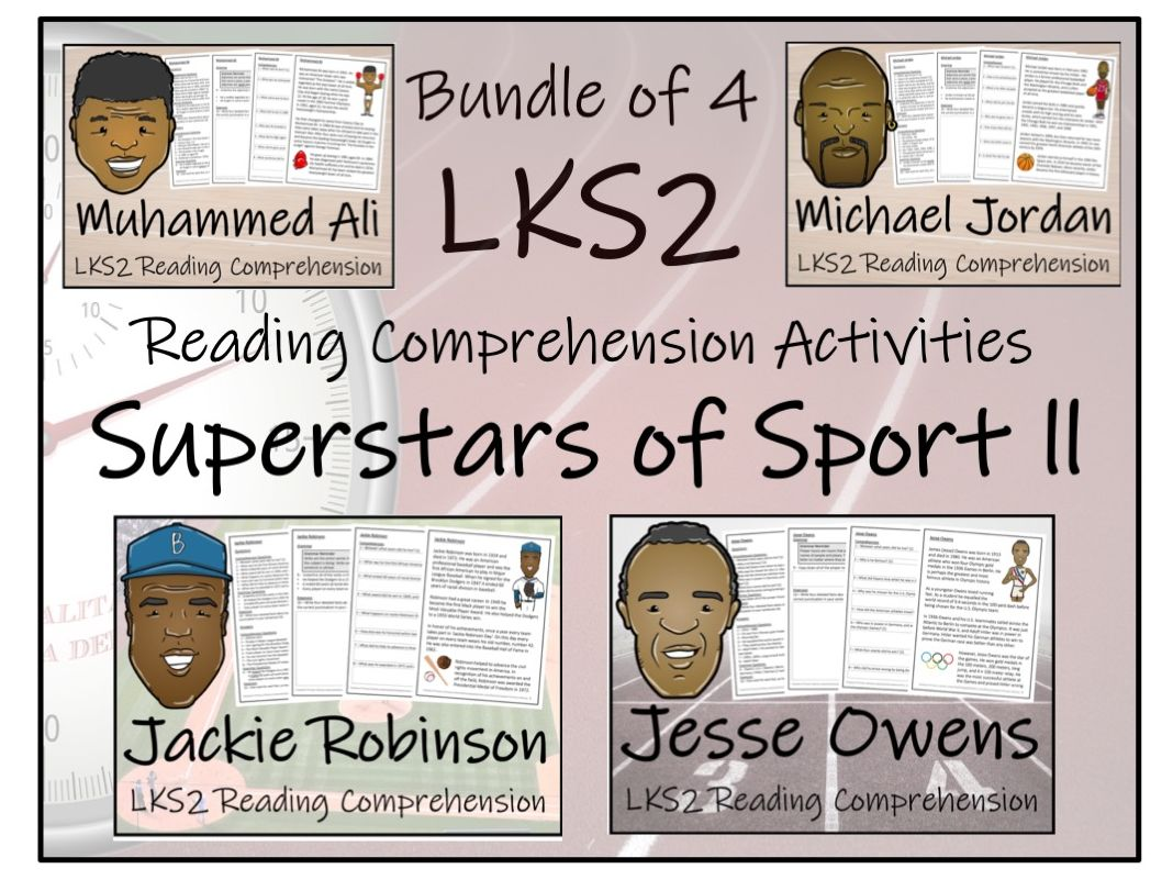 LKS2 Literacy - Historical Superstars of Sport Bundle of Reading Comprehension Activities