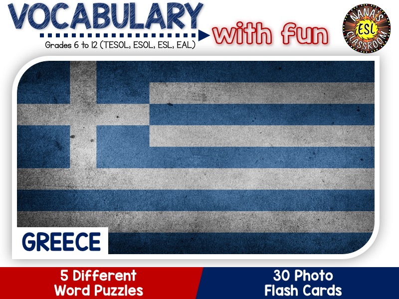 Greece - Country Symbols: 5 Different Word puzzles and 30 Photo flash cards (ESL, ELA, ELL, TESOL)