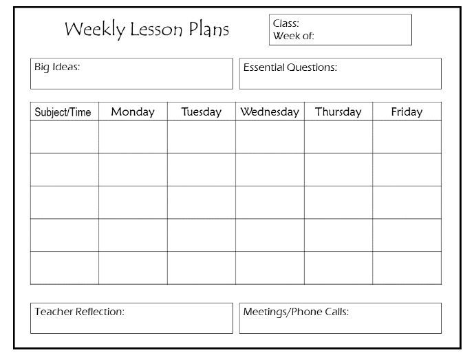 Daily and Weekly Lesson Plan Templates