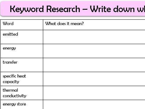 Physics Keyword Homework and Formative Assessment Sheets (AQA P1)