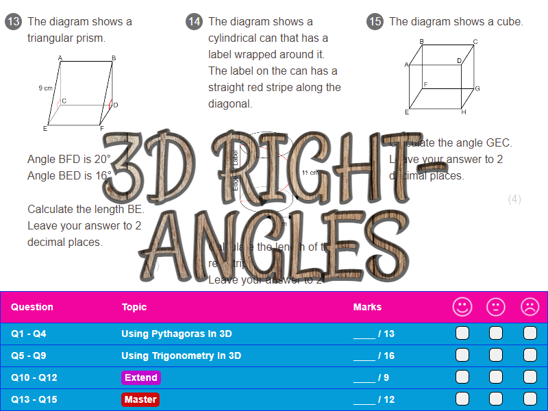 3D Right-Angles Worksheet + Answers (Higher GCSE)
