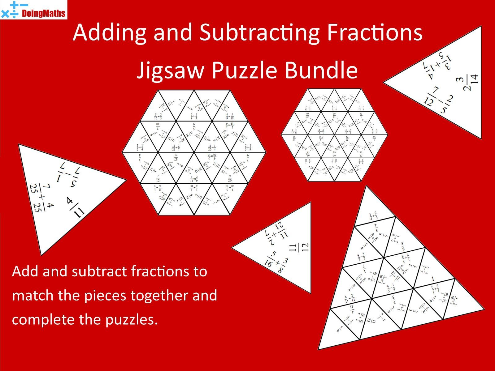 Adding and Subtracting Fractions Differentiated Jigsaw Bundle