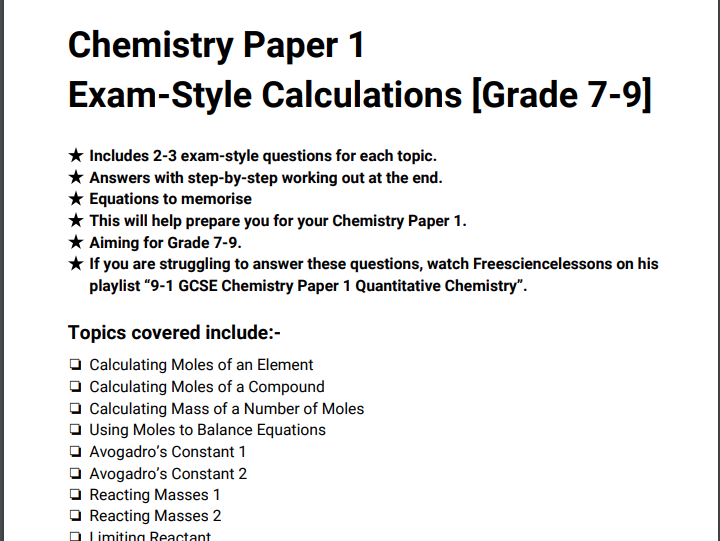 GCSE AQA Chemistry Paper 1 - All Calculations