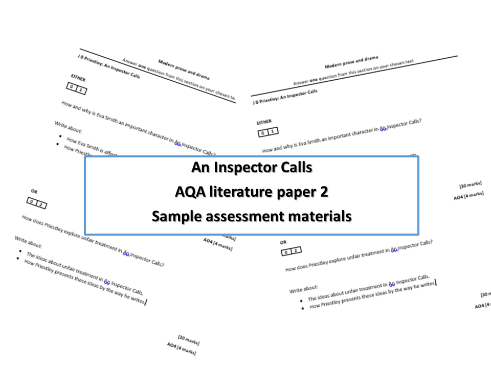 Three sample assesments for An Inspector Calls New specification 9-1 AQA GCSE - Perfect for mock exams