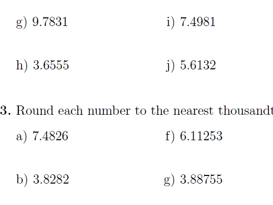 Rounding numbers (worksheet with solutions)