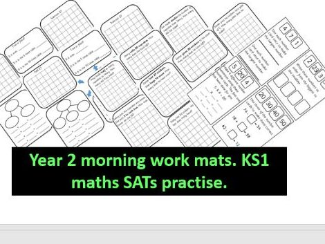 Bundle of year 2 morning maths work mats. KS1 SATs practise. arithmetic & problem solving starters