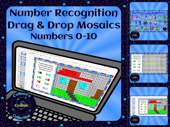 Number Recognition Drag and Drop Mosaics for Numbers 0-10 – Distance Learning