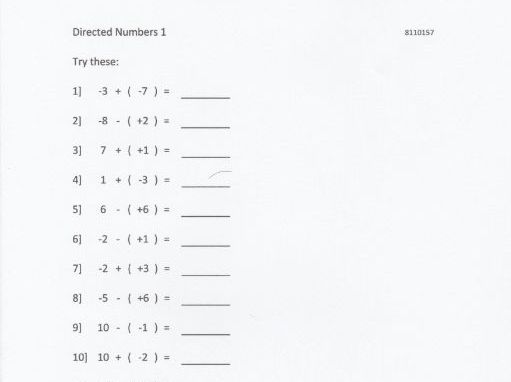 Directed Numbers Introduction Random Capability Worksheets