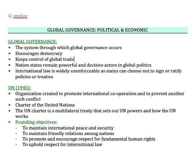 Global Governance - Political & Economic - Edexcel Politics A-Level 9PL0