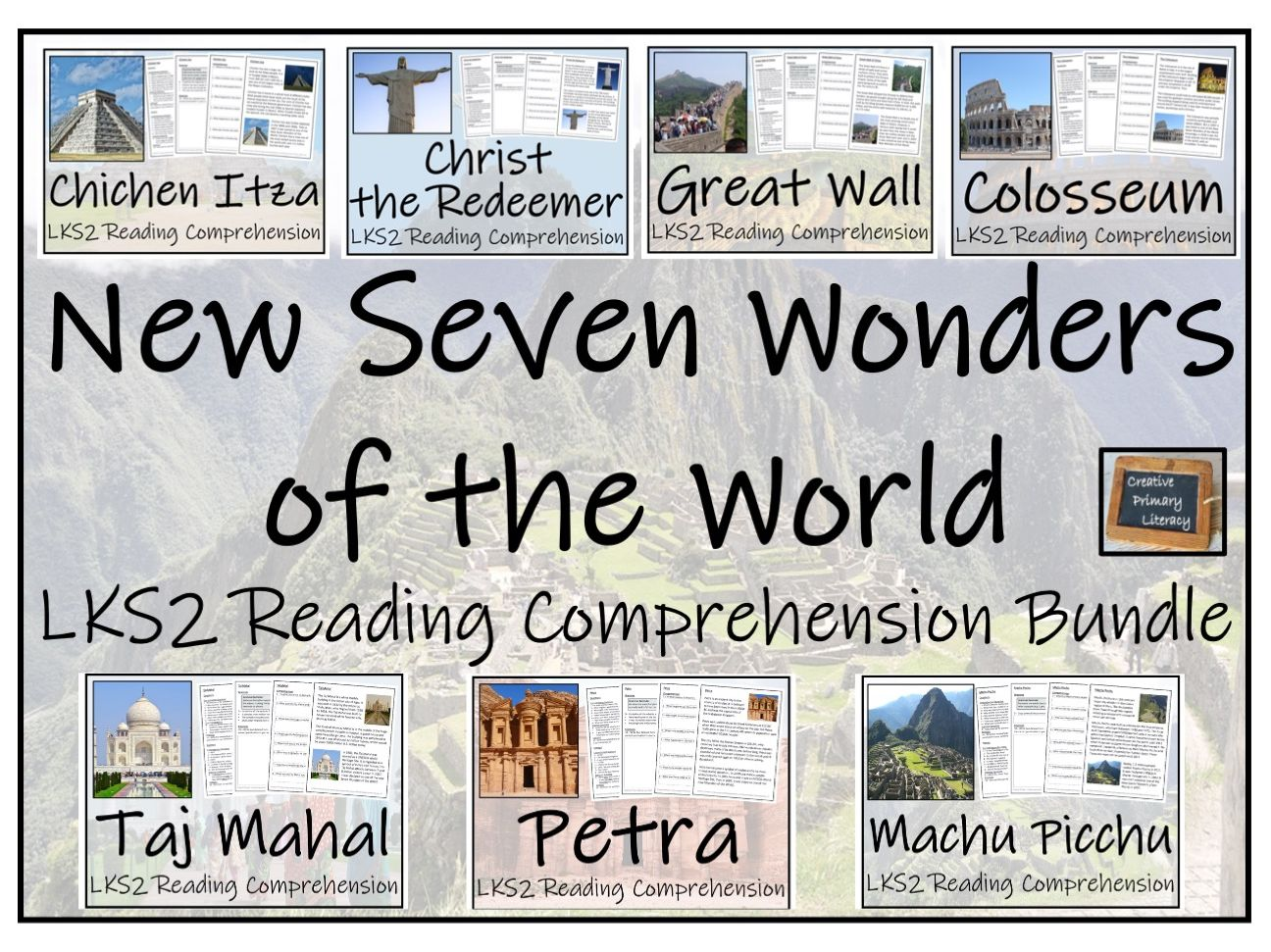 LKS2 New Seven Wonders of the World - Reading Comprehension Activity Bundle