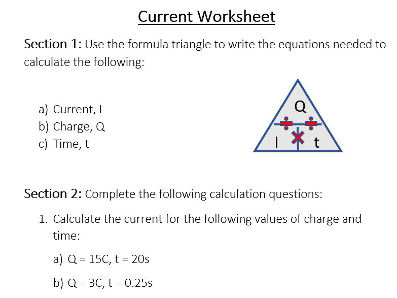 Electrical Current Worksheet