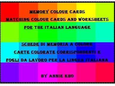 Italian Colour Cards and Worksheets