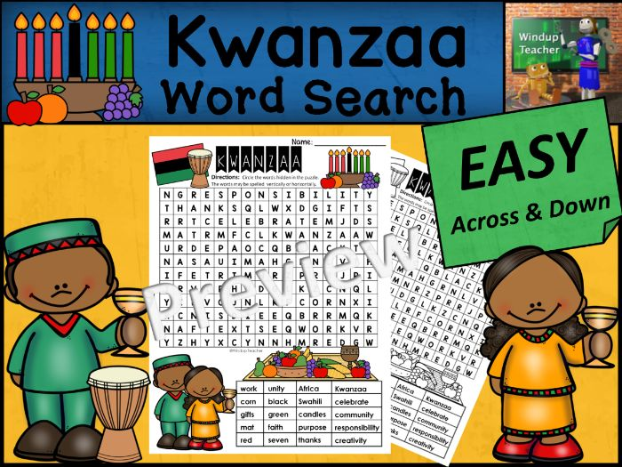Kwanzaa Word Search | EASY Puzzle | Ready to Go!