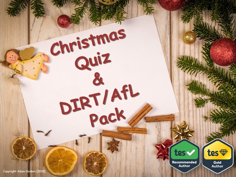 English Language & Literacy Christmas Quiz & DIRT Pack [AfL, Progress, Target Setting, Reflection, Assessment]