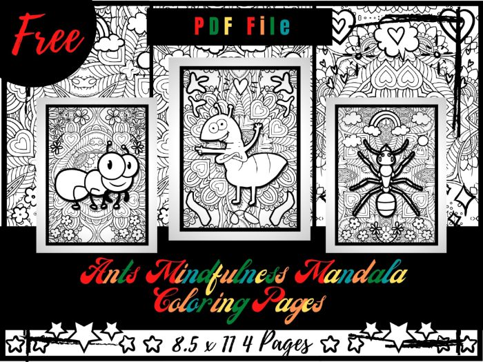 FREE Ants Mindfulness Mandala Coloring Pages, FREE Insects & Arachnids Coloring Printable Sheets