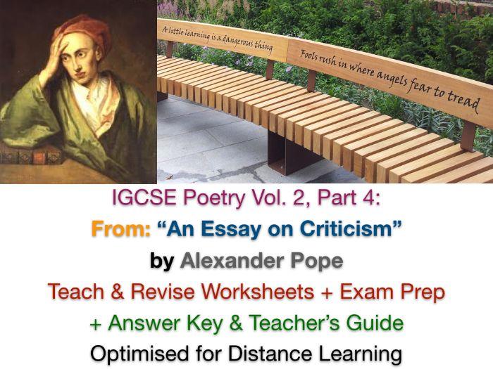 "IGCSE Poetry: ""An Essay on Criticism"" (Alexander Pope) - TEACH + EXAM PREP + ANSWERS"