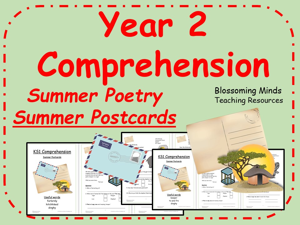 Summer poetry comprehension - Year 2 - Summer Postcards