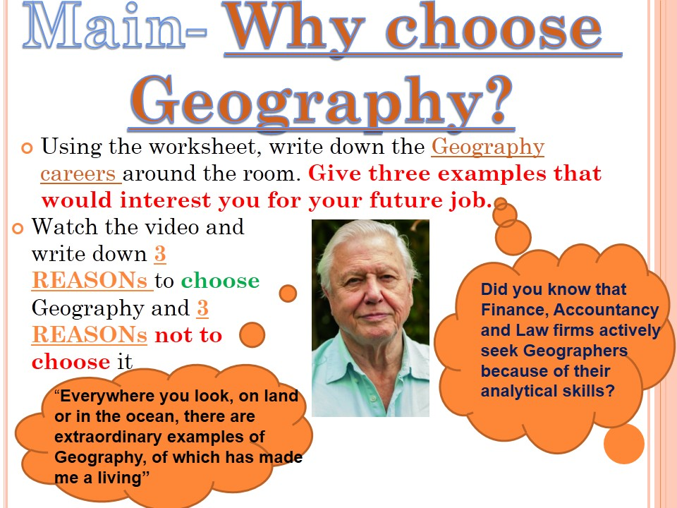 KS3 OPTIONS- Why choose Geography? NEW to 2017.